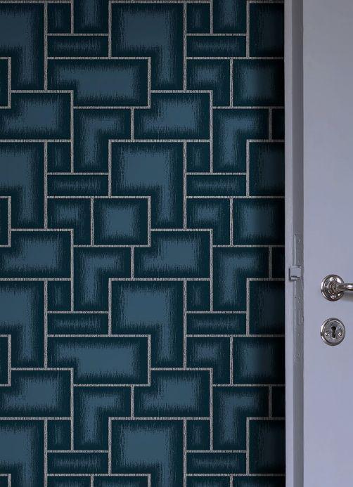 Papier peint géométrique Papier peint Adornado bleu vert Vue pièce