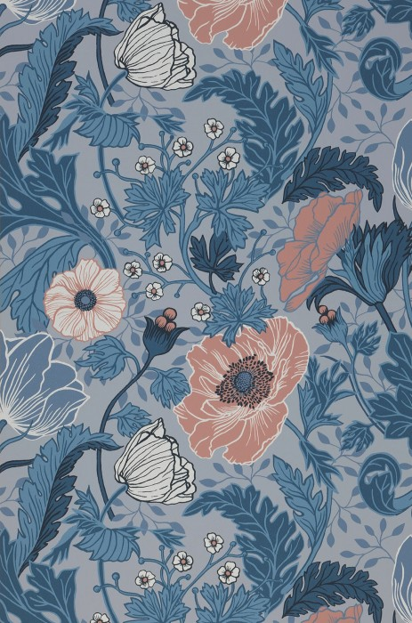 Wallpaper Soria Matt Flower tendrils Silver grey Shades of blue Grey white Light brown red