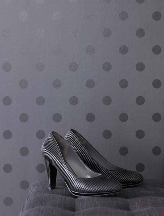 Wallpaper Enlil Matt Dots Black grey