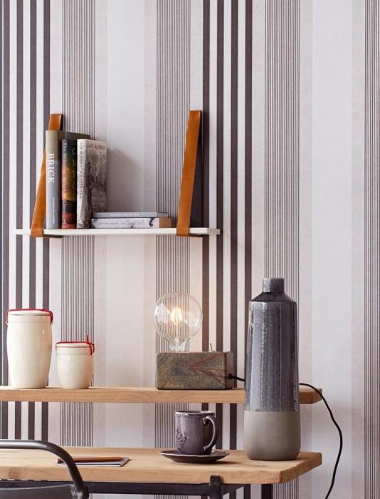 Wallpaper Mareget Matt Stripes Anthracite Light grey White grey
