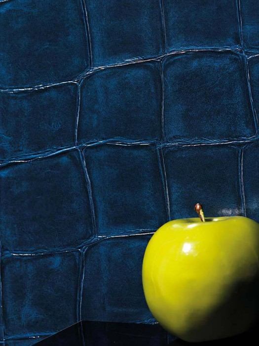 Wallpaper Croco 04 Shiny Imitation leather Dark blue