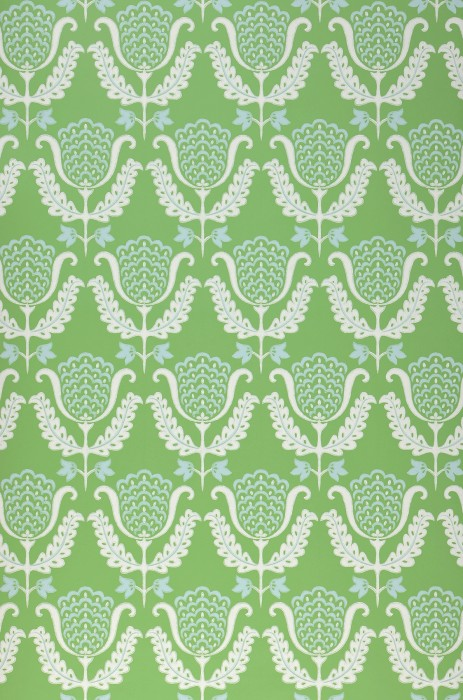 Wallpaper Zarina Hand printed look Matt Art nouveau Stylised flowers Pea green Light blue White