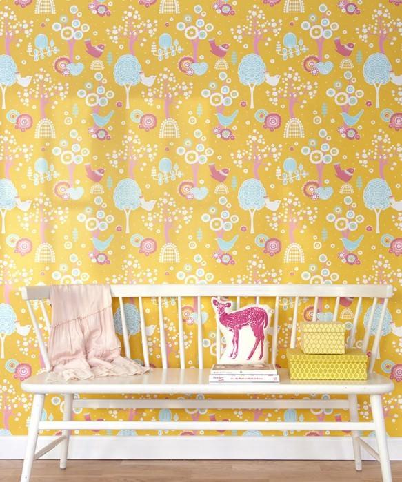 Wallpaper Körsbärsdalen Hand printed look Matt Trees Blossoms Birds Maize yellow Antique pink Light pastel turquoise Light pink White
