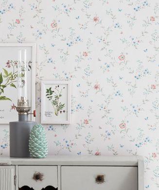 Papel pintado Enya blanco crema Ver habitación