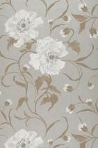 Wallpaper Sedna Matt Flowers Pearl light grey Pale brown Grey white White
