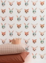 Wallpaper Forest Animals Matt Animals White Beige red Pale green Pastel brown Rosè