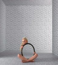 Papier peint 3D-Flowers Mat Éléments floraux Éléments graphiques Blanc gris Gris platine Gris pierre