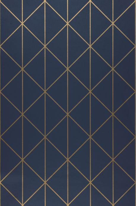 Papel de parede Art Déco Papel de parede Biloba azul escuro Largura do rolo