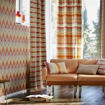 Papel pintado Vasuki Mate Zigzag Blanco crema Marrón oro Gris claro  Naranja Rojo oriente