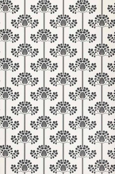 Wallpaper Valerie Matt Stylised flowers White Black