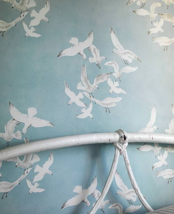 Maritime Wallpaper Wallpaper Greta pastel light blue Room View