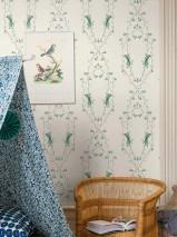 Papel de parede Josipa Mate Flores infantis Câmpanulas Branco creme Verde pálido Azul pombo