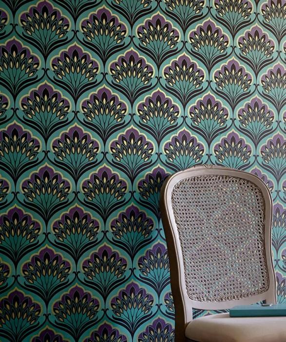 Wallpaper Perdula Shimmering Floral damask Turquoise blue Dark violet Green beige Black