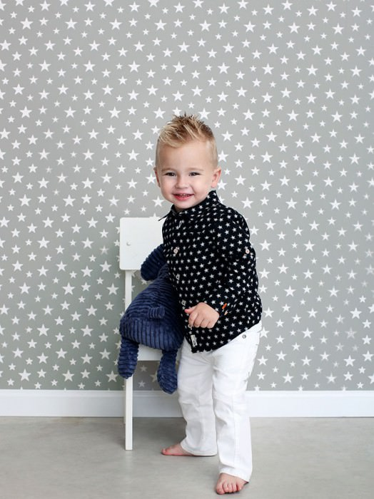 Wallpaper Little Stars Matt Stars Grey Cream