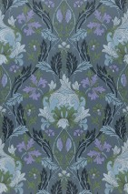 Wallpaper Denisa Hand printed look Matt Floral damask Art nouveau Blue grey Green Light blue Light grey Light lavender