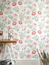 Wallpaper Lorraine Hand printed look Matt Flowers Rabbits Deer White Light pink Coral red Moss-green Pastel green