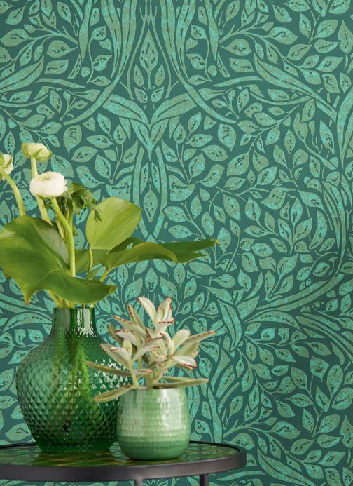Papel pintado Art Nouveau Papel pintado Cortona verde helecho Ver habitación