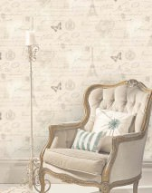 Wallpaper Estella Matt Roses Butterflies Words Light ivory Pale brown beige Silver grey