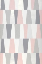 Wallpaper Jadina Matt Trapezoids Cream shimmer Dark grey Grey Light pink White