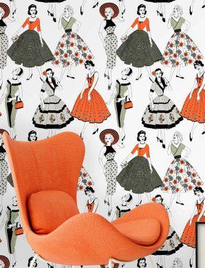 Papel de parede Vintage Dress laranja avermelhado Ver quarto