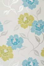 Wallpaper Taranis Shimmering pattern Matt base surface Flowers Cream Yellow green Turquoise blue White gold