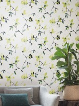 Wallpaper Delara Matt pattern Shimmering base surface Flowers Cream shimmer Green yellow Pine green Black