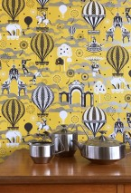 Wallpaper Rosi Matt Trees Fireworks Hot-air balloons Horses Clouds Circus performers Big Top Yellow Pearl beige Black White