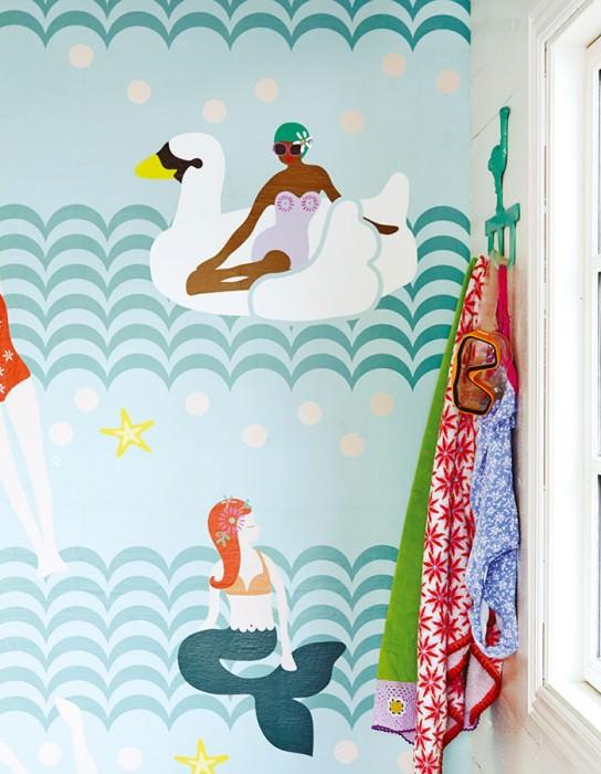 Papier peint Swimming Pool Mat Personnes Étoile de mer Vagues Brun Jaune Turquoise menthe Turquoise pastel Orange rouge Blanc