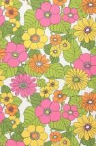Papier peint Lana Mat Fleurs Blanc Violet bruyère Jaune Vert jaune Orange