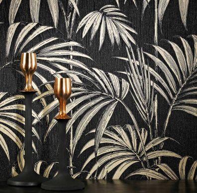 Wallpaper Tatanu black-grey glitter Room View