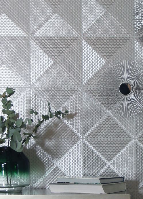 Geometric Wallpaper Wallpaper Lostar silver Room View