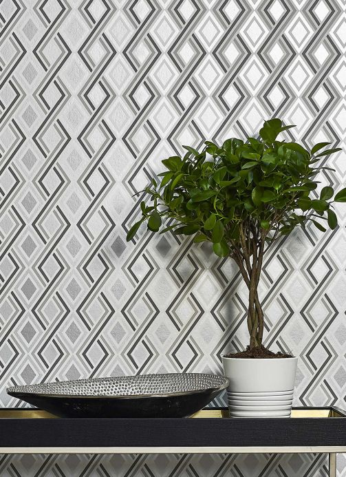Geometric Wallpaper Wallpaper Iroko grey tones Room View