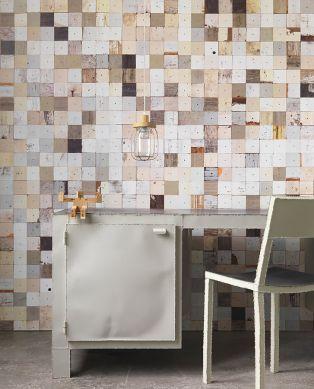 Papel pintado Scrapwood 16 beige claro Ver habitación