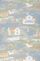Wallpaper Cordelia Matt Boats Houses Landscape Sea gulls Pale green Grey tones Light grey blue Orange brown   White