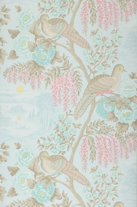 Wallpaper Infinito Matt Birds Branches with leaves and blossoms Light pastel turquoise Grey beige Light yellow shimmer Light pink Mint turquoise