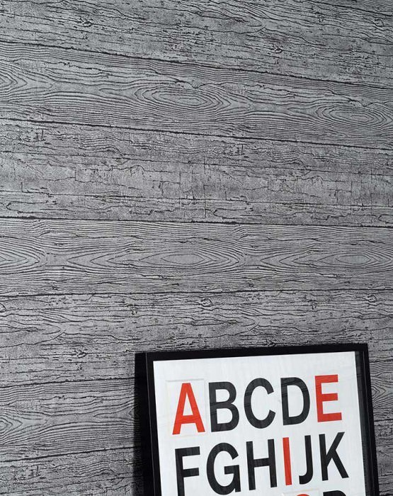 Wallpaper Wood Shimmering Old wooden boards Black grey Silver