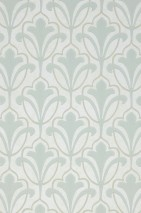 Wallpaper Cassia Hand printed look Matt Floral damask Art nouveau Pale green beige Light green-grey Olive grey