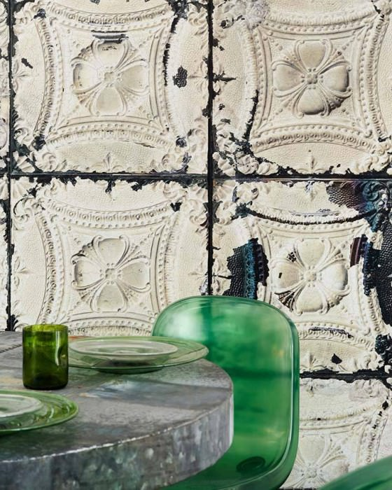 Wallpaper Brooklyn Tins 01 Matt Shabby chic Imitation enameled iron tiles White Ivory Grey brown Light grey beige Black grey
