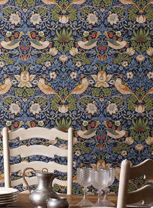 Papel pintado floral Papel pintado Faunus azul pichón Ver habitación