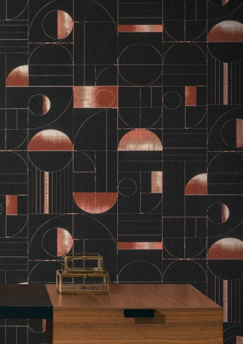 Wallpaper Duran Matt Geometrical elements Bauhaus Stil Black Cream Grey beige Red brown