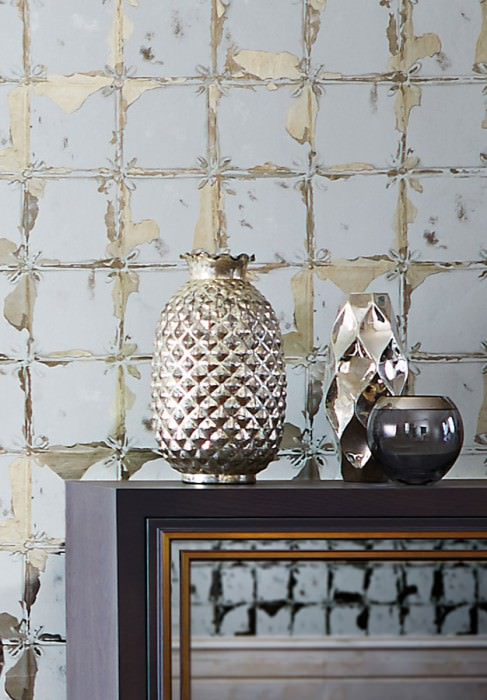 Wallpaper Abiona Metallic effect Shimmering Imitation glazed tiles Grey white Silver metallic
