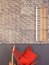 Papier peint Ekajata Style batik Imprimé à la main Mat Shabby chic Fleurs Beige Lilas