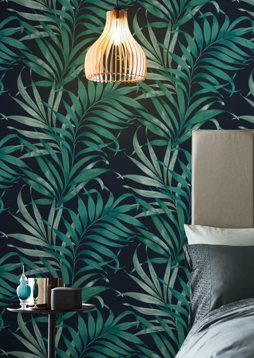 Papel de parede Paradiso Mate Folhas Azul aço Verde pálido Azul turquesa Azul água