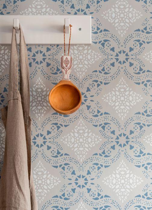 Classic Wallpaper Wallpaper Isolda light grey Room View