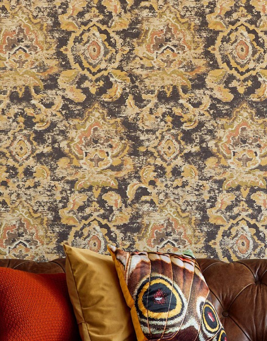 Wallpaper Lompal Matt Shabby chic Looks like textile Ethnic Ornaments Indian Style Grey brown Brown Fern green Orange brown   Sand yellow