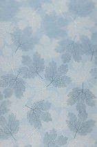 Carta da parati Gobetti Opaco Foglie Blu chiaro Bianco crema Blu perlato