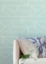 Tapete Elmi Muster schimmernd Untergrund matt Graphische Elemente Weissblau Weissgold Schimmer