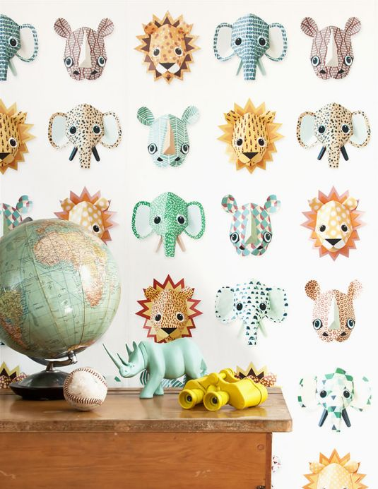 Studio Ditte Wallpaper Wallpaper Wild Animals yellow Room View