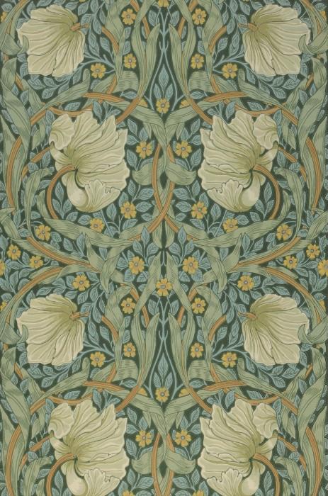 Papier peint Despina Aspect impression à la main Mat Feuilles Vrilles de fleur Vert mousse Vert pâle Jaune orange Ivoire clair Ocre Turquoise pastel