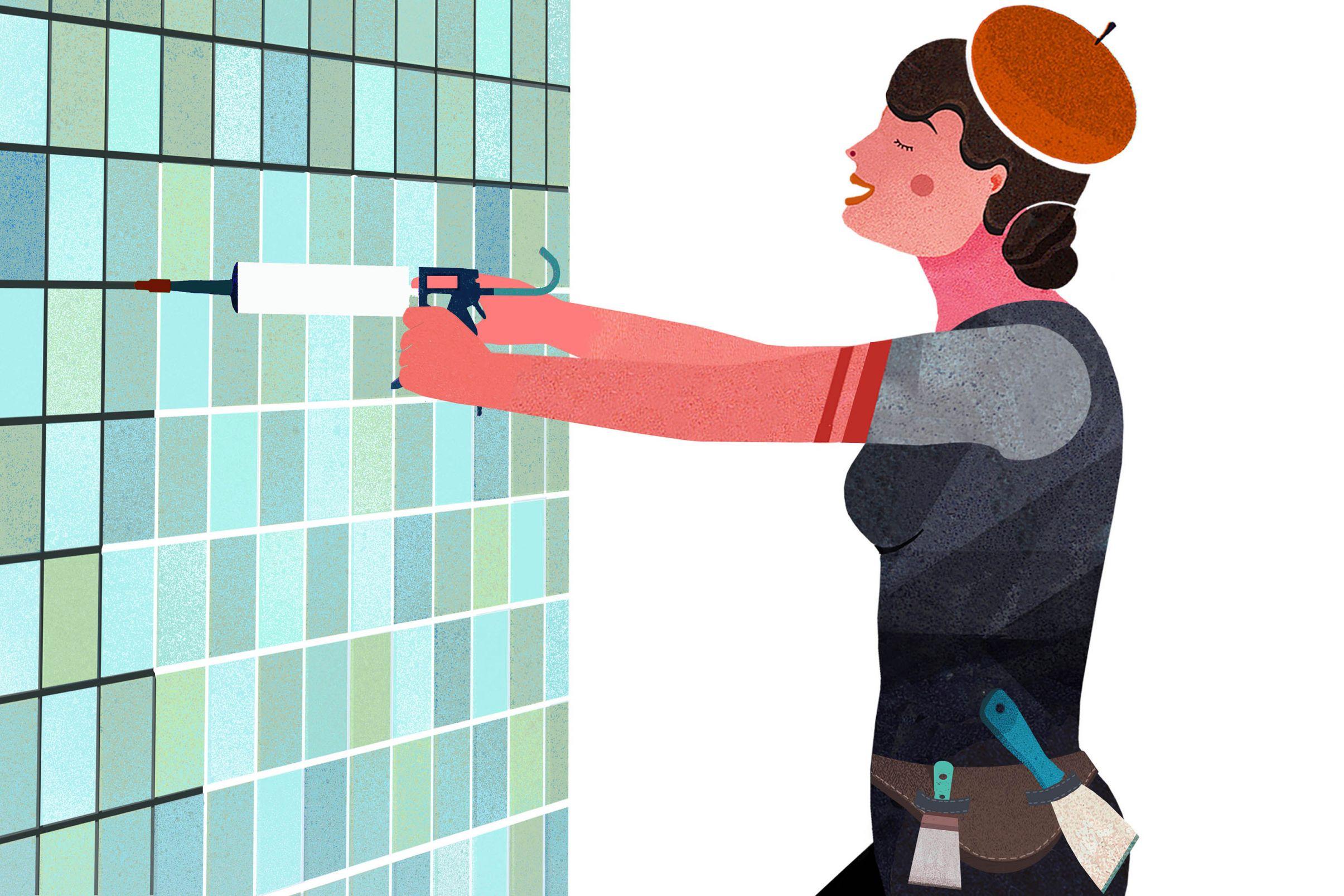 Como-colocar-papel-de-parede-no-banheiro-Preencha-o-rejunte-nivele-o-enchimento-e-lixe-os-azulejos-com-lixa